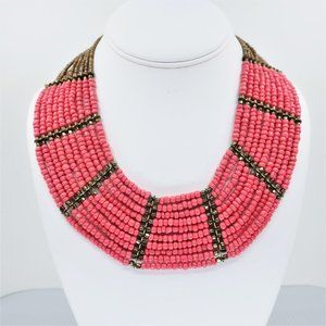 Aldo Bib Coral Colored Beaded Necklace